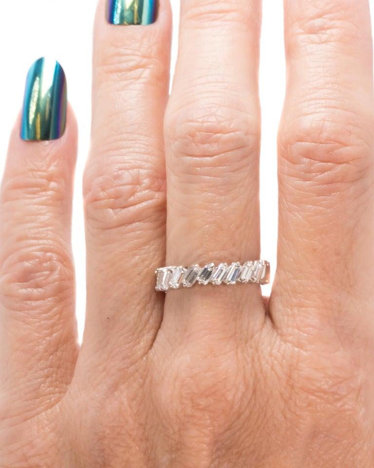 1940s 1 Carat Total Baguette Diamond Half Way around Eternity Band For Sale 4