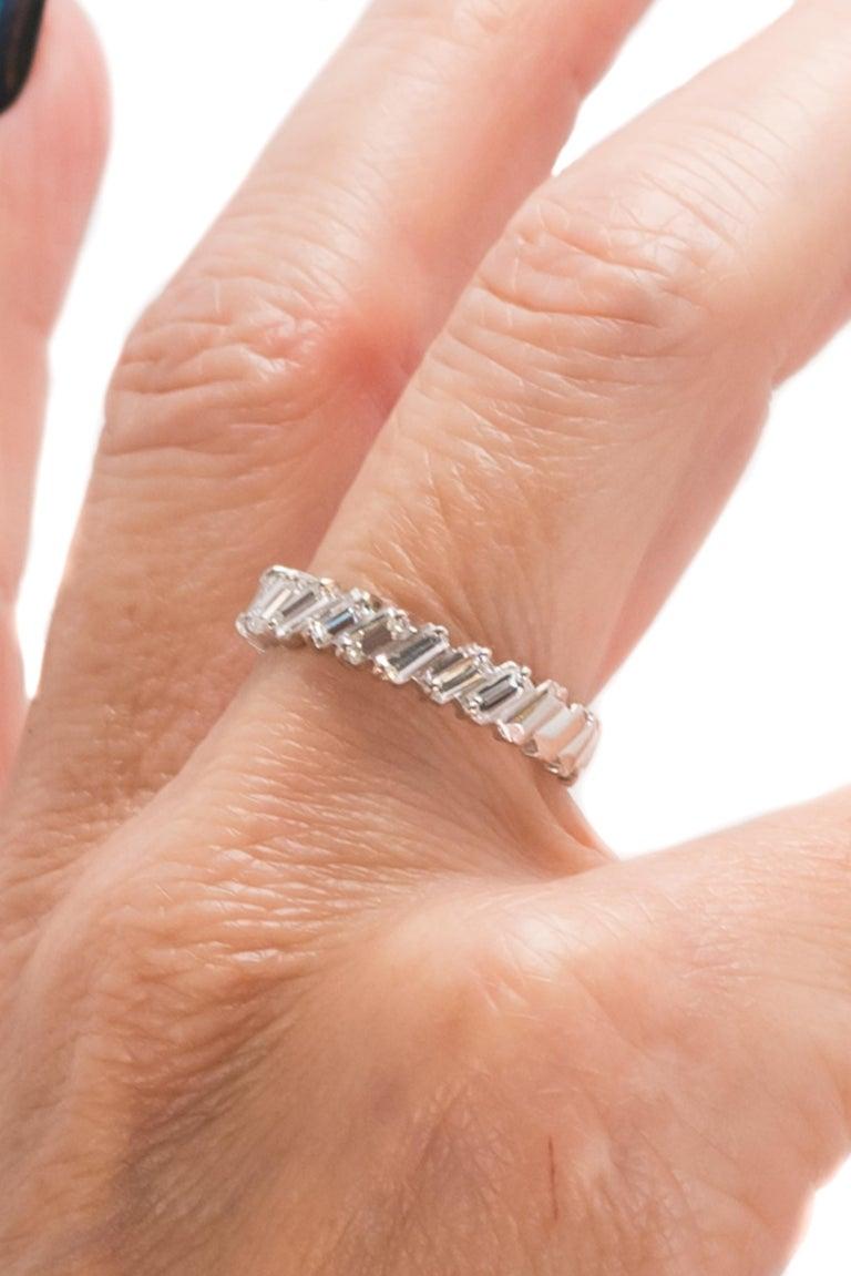 1940s 1 Carat Total Baguette Diamond Half Way around Eternity Band For Sale 5