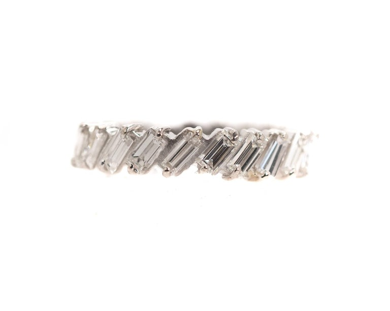 1940s Half Way Around Eternity Band - 14K White Gold, Baguette Diamonds  Features a half circle of Baguette Diamonds set in 14K White Gold. The front half of the ring is set with Glittering Baguette Diamonds. The back half of the ring is Glimmering