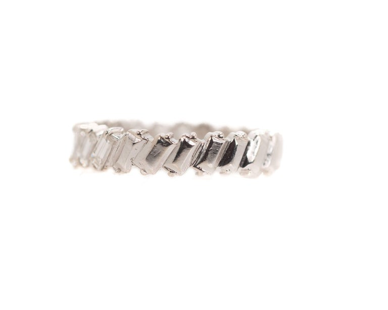 1940s 1 Carat Total Baguette Diamond Half Way around Eternity Band In Good Condition For Sale In New York, NY