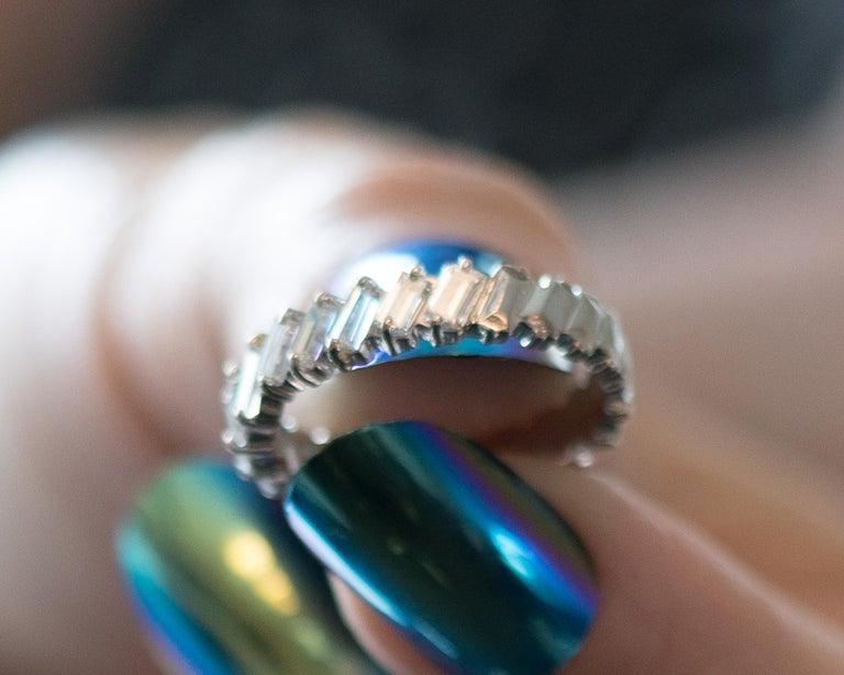 1940s 1 Carat Total Baguette Diamond Half Way around Eternity Band For Sale 3