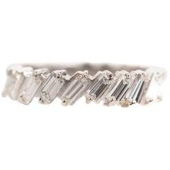 1940s 1 Carat Total Baguette Diamond Half Way around Eternity Band