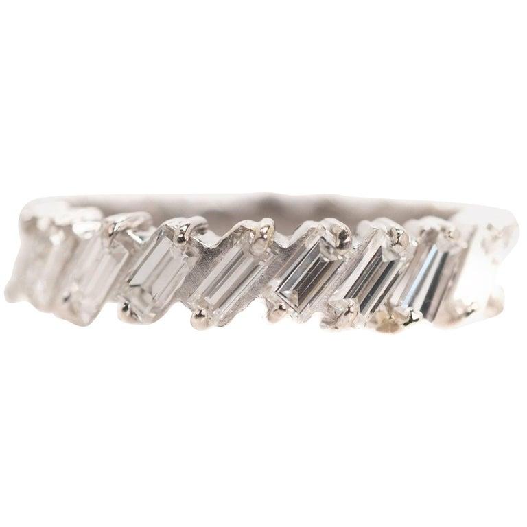 1940s 1 Carat Total Baguette Diamond Half Way around Eternity Band For Sale