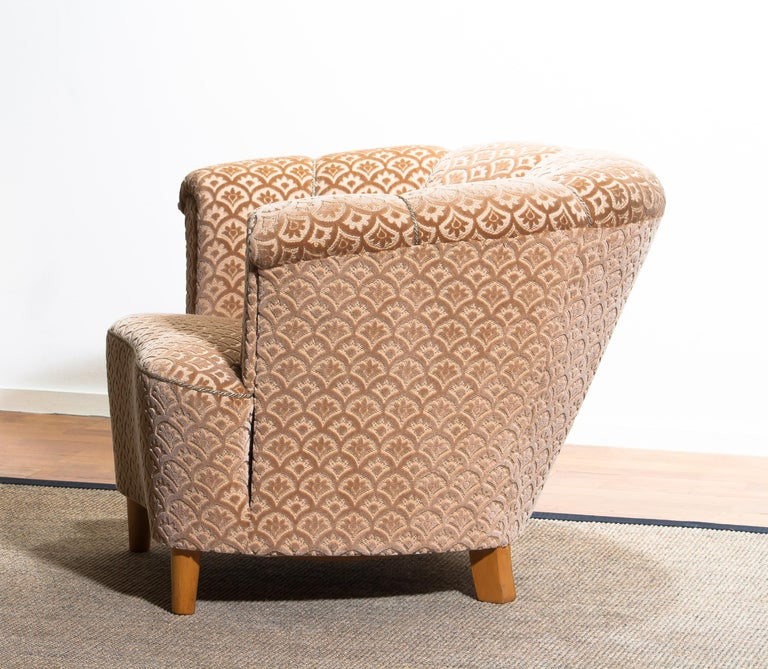 Mid-20th Century 1940s, 1 Velvet Jacquard Club Cocktail Chair from Sweden