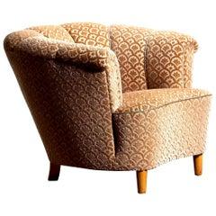 1940s, 1 Velvet Jacquard Club Cocktail Chair from Sweden