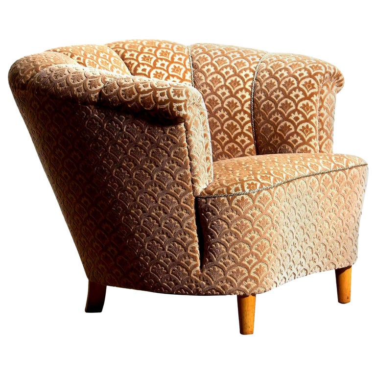 1940s, 1 Velvet Jacquard Club Cocktail Chair from Sweden
