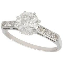 1940s 1.01 Carat Diamond Platinum Solitaire Ring