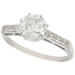 1940s 1.01 Carat Diamond Platinum Solitaire Ring