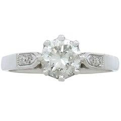 1940s 1.04 Carat Diamond & Platinum Solitaire Ring