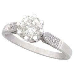 1940s 1.04 Carat Diamond and Platinum Solitaire Ring