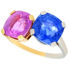 1940s 10.50 Carat Sapphire with Yellow Gold and Platinum Cocktail Ring