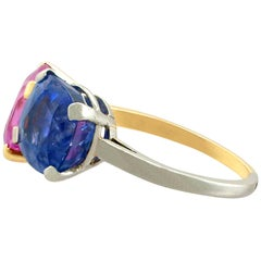 1940s 10.50 Carat Sapphire Yellow Gold Platinum Cocktail Ring