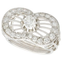 1940s 1.06 Carat Diamond and Platinum Cocktail Ring