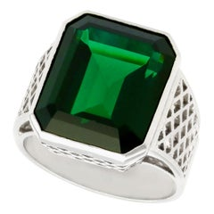 1940s 10.94 Carat Tourmaline and White Gold Cocktail Ring
