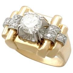 1940s 1.18 Carat Diamond and Yellow Gold Platinum Set Cocktail Ring