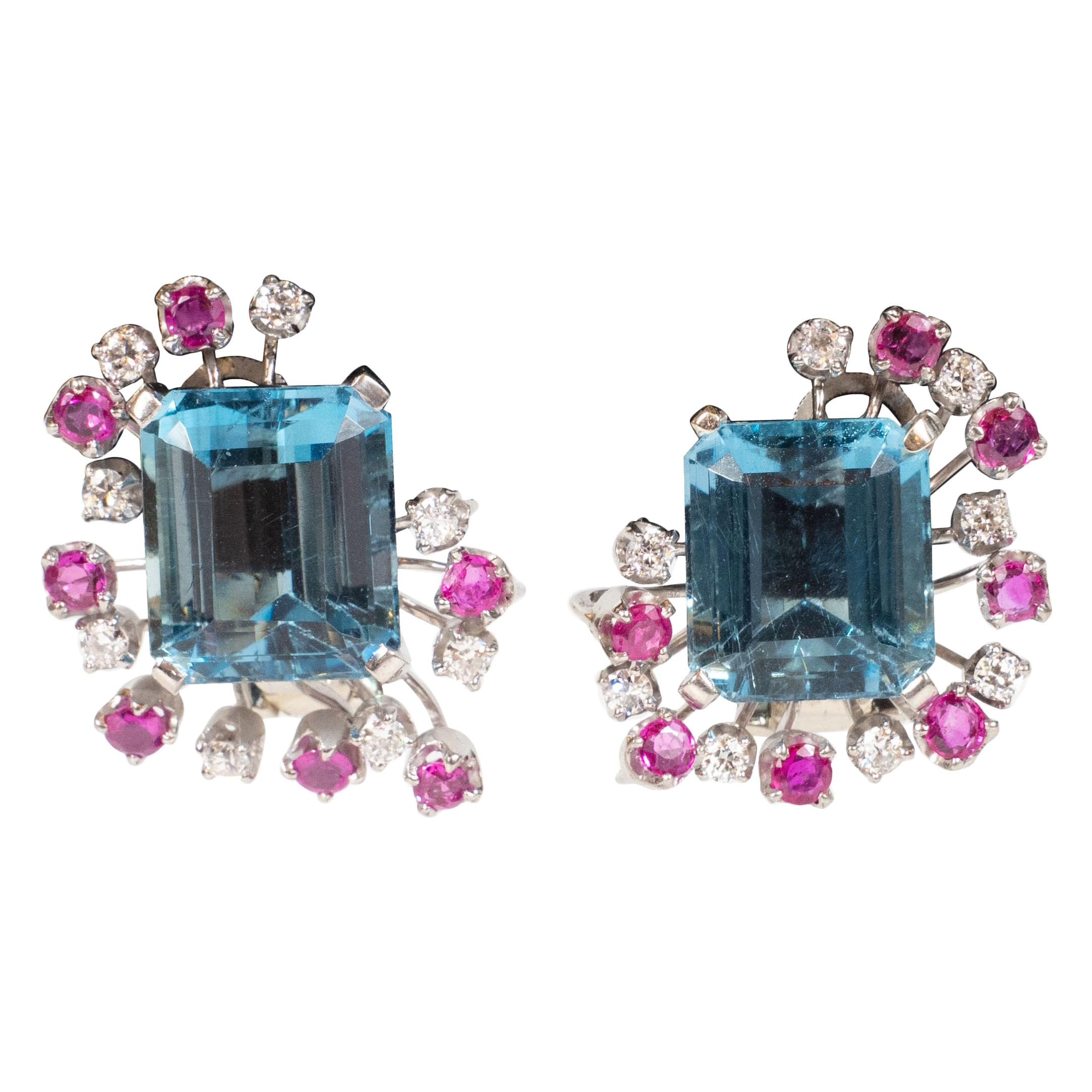 1940s 12 Carat Aquamarine and 14K White Gold Earrings with Diamonds and Rubies