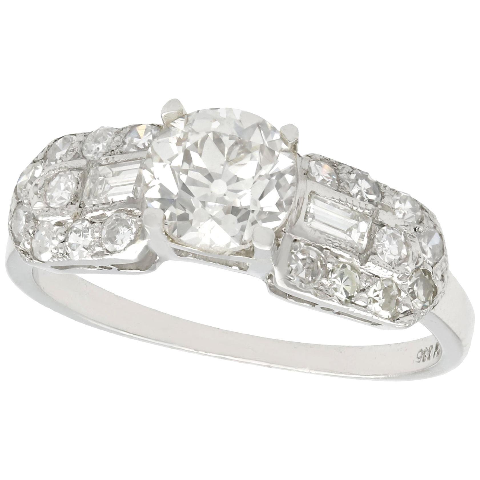 1940s 1.20 Carat Diamond and Platinum Cocktail Ring