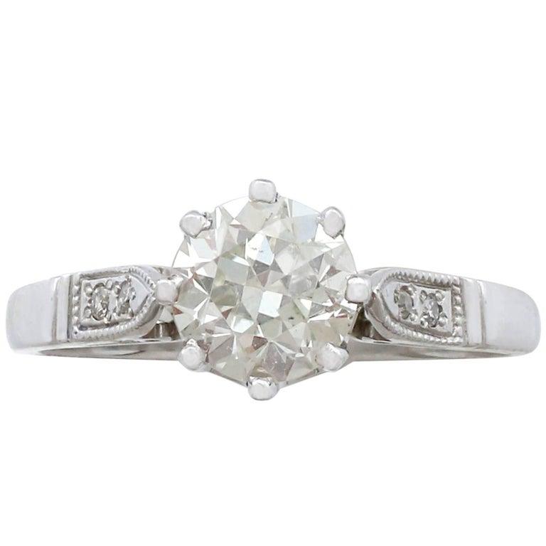 1940s 1.25 Carat Diamond and Platinum Solitaire Ring