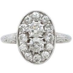 1940s 1.26 Carat Diamond and White Gold, Platinum Set Dress Ring