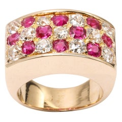 1940s 14 Karat Gold, Burmese Ruby and 2.5 Karat European Cut Diamond Ring