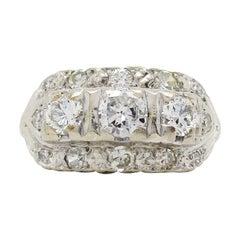1940s 14 Karat White Gold Diamond Ring