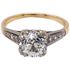 1940s 14 Karat Yellow Gold and Platinum 1.56 Carat European Cut Diamond Ring