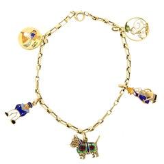 1940s 14 Karat Yellow Gold Enamel Charm Bracelet