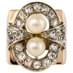 1940s 1,40 Carat Diamonds Cultured Pearls 18 Karat Rose Gold Ring