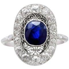 1940s 1.43 Ct Sapphire and Diamond Platinum Ring