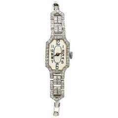 1940s 1.45 Carat Diamond and Platinum Ladies Cocktail Watch
