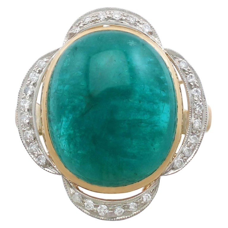 1940s 14.5 Carat Emerald and Diamond Yellow Gold Cocktail Ring For Sale