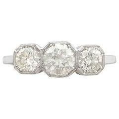 1940s 1.49 Carat Diamond and Platinum Trilogy Ring