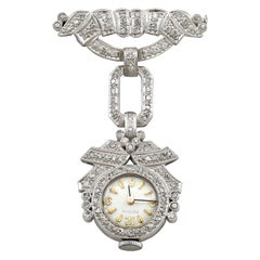 1940s 1.50 Carat Diamond and Platinum Ladies Cocktail Fob Watch