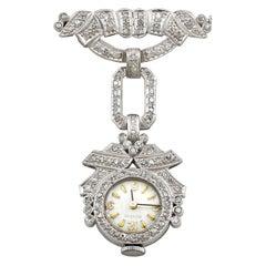 1940s 1.50 Carat Diamond and Platinum Ladies Cocktail Fob Watch