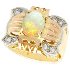 1940s 1.55 Carat Opal and Diamond Yellow Rose and White Gold Cocktail Ring