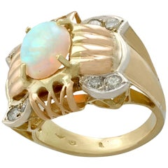 1940s 1.55 Carat Opal and Diamond Yellow Rose and White Gold Dress Ring