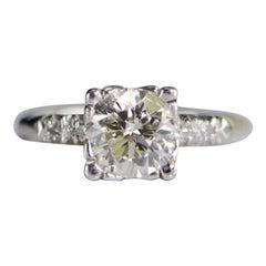 1940s 1.58 Carat Platinum Diamond Engagement Ring