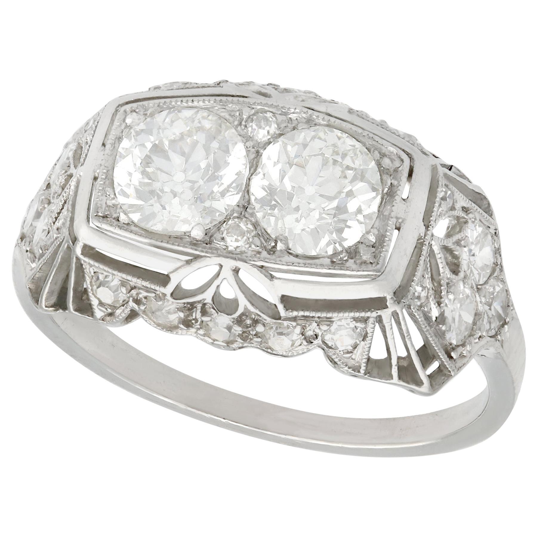 1940s 1.73 Carat Diamond and Platinum Cocktail Ring