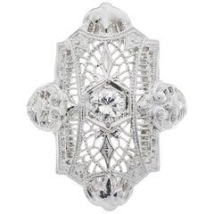 1940s 18 Carat Diamond White Gold Filigree Ring