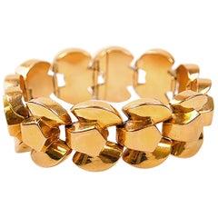Retro 1940's French Yellow Gold Tank Link Bracelet