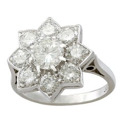 1940s 1.87 Carat Diamond and White Gold Cluster Ring
