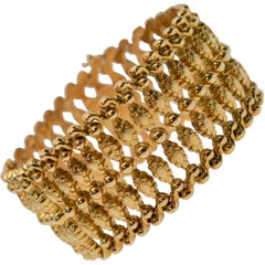 1940's 18K Yellow Gold Flexible Retro Cuff Style Bracelet