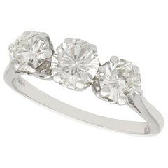 1940s 1.93 Carat Diamond and White Gold Trilogy Ring
