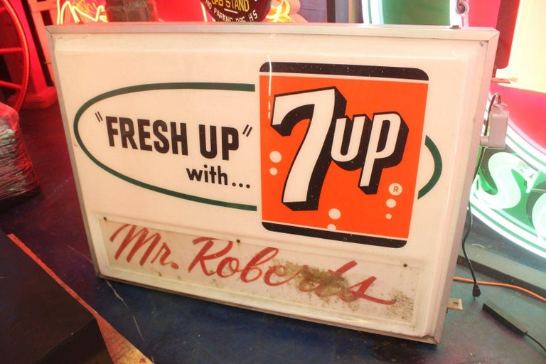1940s-1950s 7-UP Light Up Grocery Store Plastic Sign For