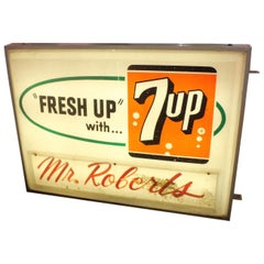 1940s-1950s 7-UP Light Up Grocery Store Plastic Sign