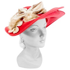 1940s/1950s Deep Rose Hand Sculpted Picture Hat with Mink and Velvet Flowers