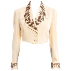 1940S Cream Wool Gabardine Copper Beaded Short Waisted Jacket