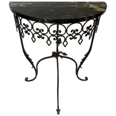 1930s Wrought Iron Marble Top Half Round Console Table