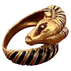 1940s-1960s Vintage Enamel Ram 18 Karat Yellow Gold Ring