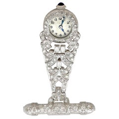1940s 2.04 Carat Diamond and Platinum Ladies Fob Watch